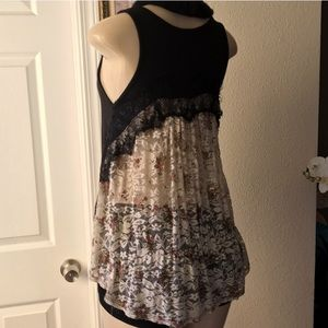Tops - Best Cody Black & Floral Lace top